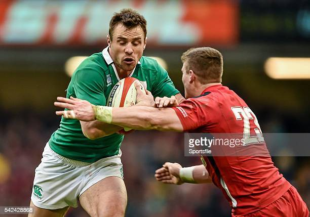 14 March 2015 Tommy Bowe Ireland is tackled by Scott Williams Wales RBS Six Nations Rugby Championship Wales v Ireland Millennium Stadium Cardiff...