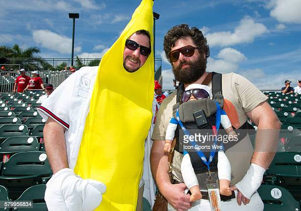 A baseball fan with a fake baby and dressed like actor Zach Galifianakis character