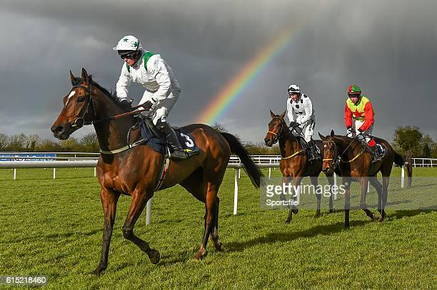 27 March 2016 A general view of runners and riders passing by a rainbow after the Tattersalls Ireland George Mernagh Memorial Sales Bumper including...