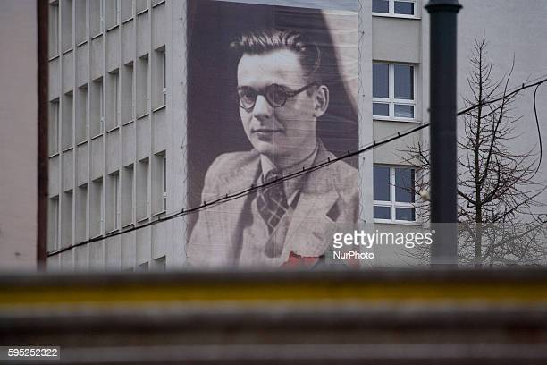 March 2016 - A large banner is posted on the side of the town hall building in the centre of the city. Leszek Bialy is commemorated as a member of...