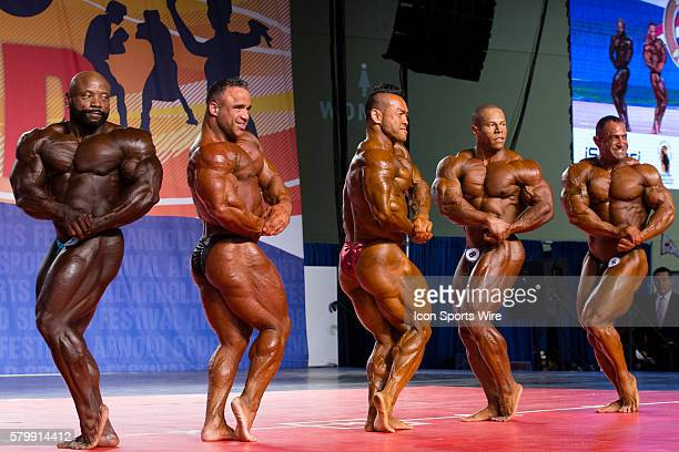 Charles Dixon Jose Raymond Hidetada Yamagishi David Henry and Guy Cisternino compete in prejudging for the Arnold Classic 212 as part of the Arnold...