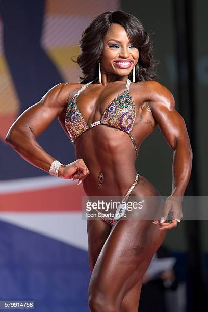 Cydney Gillon competes in prejudging for Figure International as part of the Arnold Sports Festival at the Greater Columbus Convention Center in...