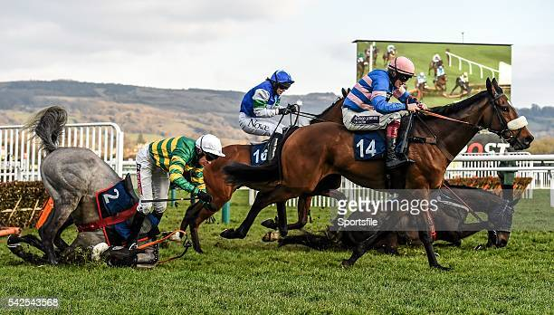 16 March 2016 Diego Du Charmil with Sam TwistonDavies up on their way to winning the Fred Winter Juvenile Handicap Hurdle as Campeador with Barry...