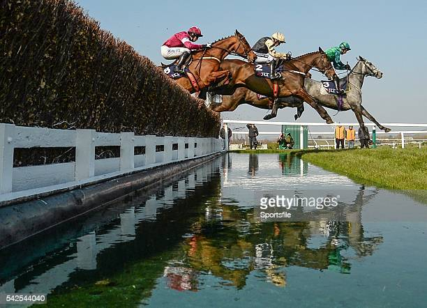 17 March 2016 Eventual winner Black Hercules centre with Ruby Walsh up jumps the water jump between Bristol De Mai with Daryl Jacob up front and...