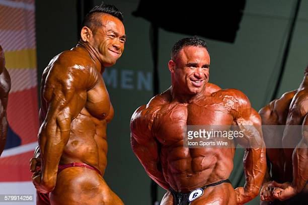 Hidetada Yamagishi and Jose Raymond compete in prejudging for the Arnold Classic 212 as part of the Arnold Sports Festival at the Greater Columbus...
