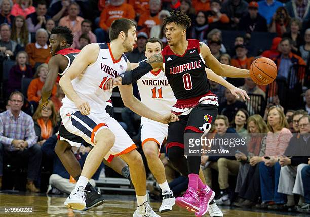 Louisville guard Damion Lee during an NCAA basketball game between the Virginia Cavaliers and the Louisville Cardinals at John Paul Jones Arena in...