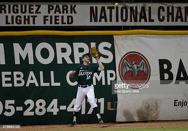 Manhattan College outfielder Jason Patnick catches a fly ball against the University of Miami at Alex Rodriguez Park at Mark Light Field Coral Gables...
