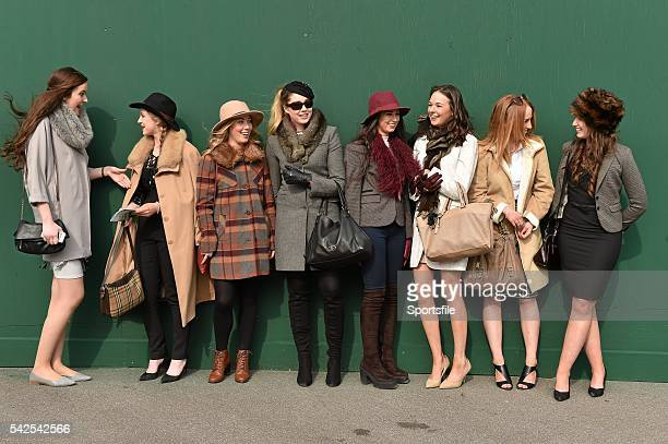 15 March 2016 Members of the UCD Horse Racing Club from left Ellen Buckley from Fermoy Co Cork Elena O'Callaghan from Mallow Co Cork Holly Lloyd from...
