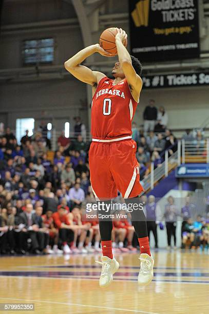 Nebraska Cornhuskers guard Tai Webster goes up for a shot during a game between the Nebraska Cornhuskers and the Northwestern Wildcats at the...
