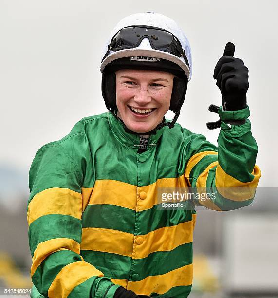 18 March 2016 Nina Carberry celebrates after winning the St James's Place Foxhunter Steeple Chase Challenge Cup on On The Fringe Prestbury Park...