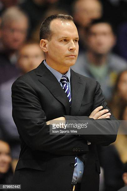 Northwestern Wildcats head coach Chris Collins watches his team during a game between the Nebraska Cornhuskers and the Northwestern Wildcats at the...