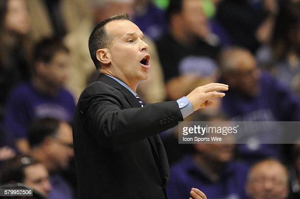 Northwestern Wildcats head coach Chris Collins yells at players during a game between the Nebraska Cornhuskers and the Northwestern Wildcats at the...