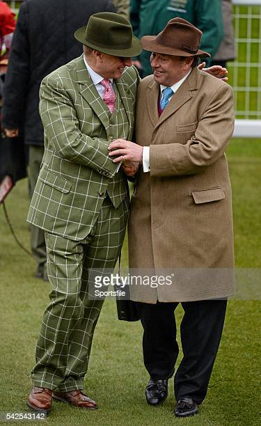 15 March 2016 Owner Rich Ricci left congratulates trainer Nicky Henderson after he won the Supreme Novices' Hurdle with Altior Prestbury Park...