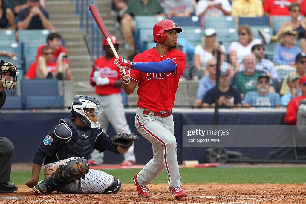 Philadelphia Phillies right fielder Nick Williams (79) at bat during the MLB Grapefruit League Spring Training game between the Philadelphia Phillies and New York Yankees at George M. Steinbrenner Field in Tampa, FL.