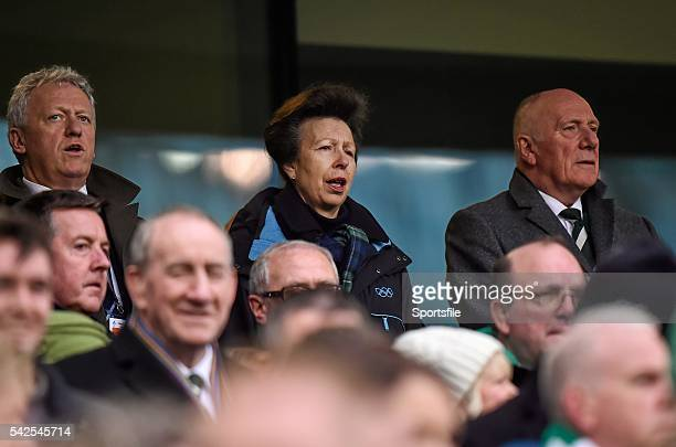19 March 2016 Princess Anne in attendance at the game RBS Six Nations Rugby Championship Ireland v Scotland Aviva Stadium Lansdowne Road Dublin...