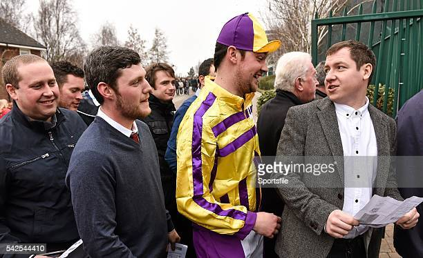 18 March 2016 Racegoer Greg Docherty from Bathgate Scotland and friends in a queue at the entrance ahead of day 4 at the races Prestbury Park...