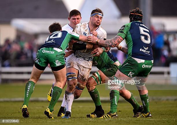 26 March 2016 Rhys Ruddock Leinster is tackled by Connacht players from left AJ MacGinty Sean O'Brien and Aly Muldowney Guinness PRO12 Round 18...