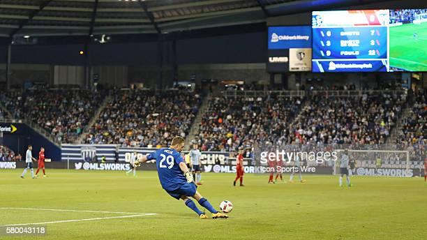 Sporting Kansas City goalkeeper Tim Melia sends the goal kick in a match between Toronto FC and Sporting Kansas City at Children's Mercy Park in...
