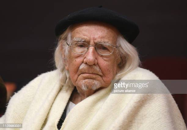 March 2017 North RhineWestphalia Wuppertal The Nicaraguan poet and liberation theologian Ernesto Cardenal sits at the University of Wuppertal...