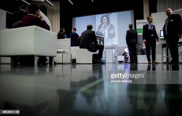 Dorothee Baer German state minister for digitalisation seen on a video wall during the Fachkongress Digitaler Staat Baer was scheduled to present the...