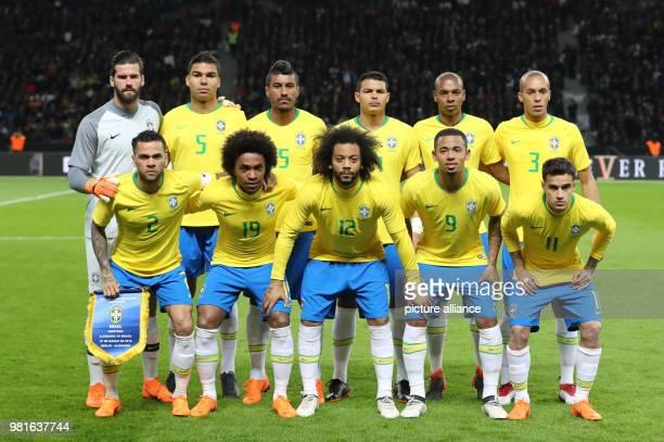 27 March 2018 Germany Berlin Olympia Stadium Soccer Friendly International matchGermany vs Brazil Brazil's national team posing for a team photo...