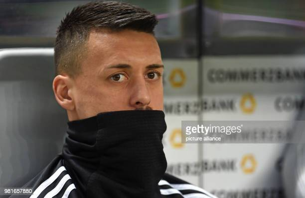 27 March 2018 Germany Berlin Olympia Stadium Soccer Friendly International match Germany vs Brazil Germany's Sandro Wagner sits on the bench Photo...