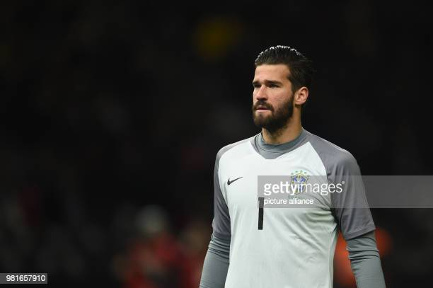 27 March 2018 Germany Berlin Olympia Stadium Soccer Friendly International match Germany vs Brazil Brazil's goalkeeper Alisson Photo Andreas...