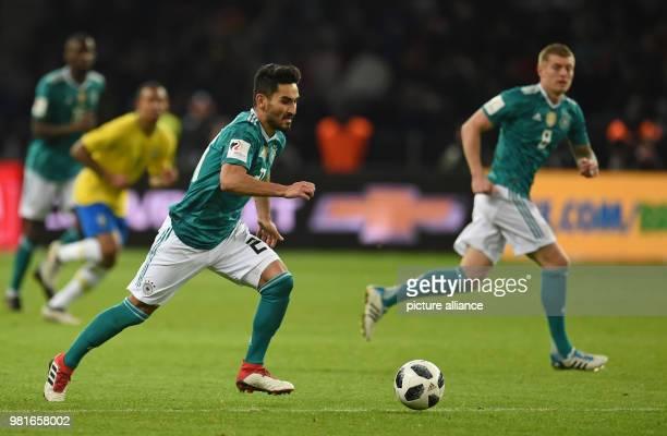 27 March 2018 Germany Berlin Olympia Stadium Soccer Friendly International matchGermany vs Brazil Germany's Ilkay Gündogan controls the ball Photo...