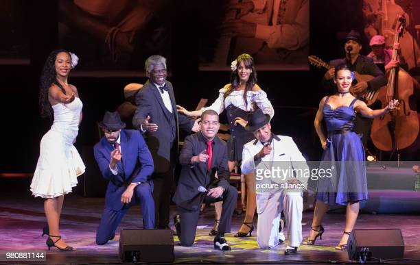 The actors of 'The Bar at Buena Vista Grandfathers of Cuban Music' perform on the stage of the Friedrichstadtpalast The grandfathers of Cuban music...