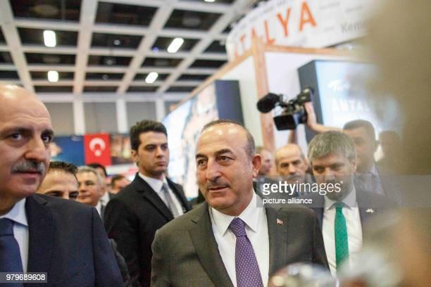 March 2018, Germany, Berlin: Turkish Minister of Foreign Affairs Mevlut Cavusoglu and Numan Kurtulmus, Turkish Minister of Culture and Tourism, visit...