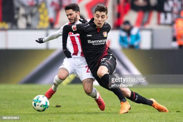 Football Bundesliga 1 FC Cologne vs Bayer Leverkusen at the RheinEnergieStadion Cologne's Leonardo Bittencourt and Leverkusen's Kai Havertz vie for...