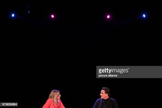 The fashion designerGuido Maria Kretschmer and the fashion journalist Antje Wewer sit on stage in the course of the literature festival LitCologne...