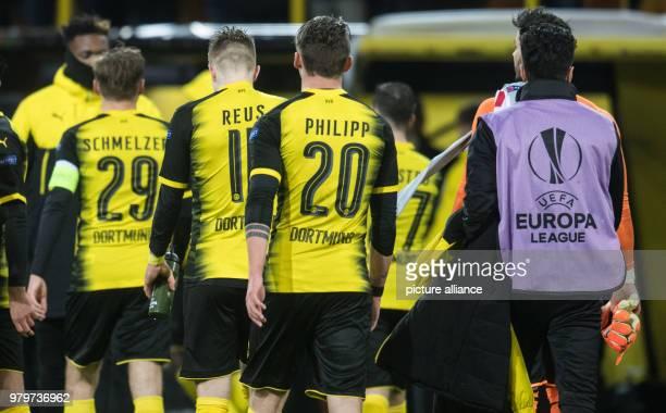 Europa League match between Borussia Dortmund and RB Salzburg Signal Iduna Park Dortmund's players with Marcel Schmelzer Marco Reus and Maximilian...
