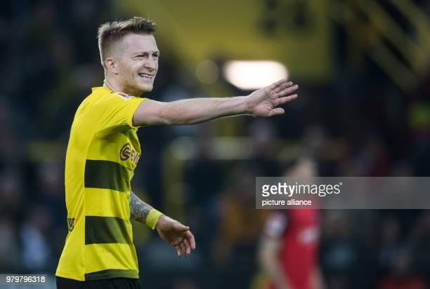 Europa League match between Borussia Dortmund and RB Salzburg Signal Iduna Park Dortmund's Marco Reus gestures Photo Bernd Thissen/dpa