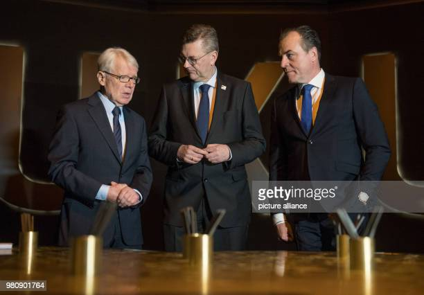 President of the German Football League Reinhard Rauball German FootballAssociation President Reinhard Grindel and chairman of Schalke's supervisory...