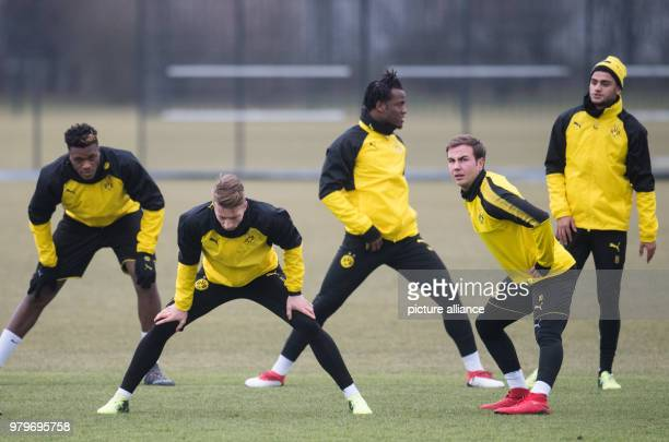 Soccer Europa League Borussia Dortmund vs RC Salzburg training round of sixteen Dortmund's DanAxel Zagadou Marco Reus Michy Batshuayi Mario Goetze...