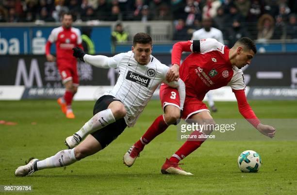 17 March 2018 Germany Frankfurt am Main Football Bundesliga Eintracht Frankfurt vs FSV Mainz 05 at the CommerzbankArena Frankfurt's Luka Jovic and...
