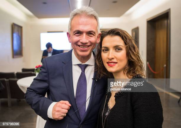 11 March 2018 Germany Frankfurt am Main Peter Feldmann of the Social Democratic Party stands next to his wife Zubeyde at the Romer Peter Feldmann...