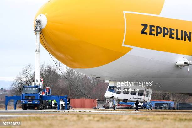 Airship NT short for 'Neue Technologie' is prepared for the first flight of the new season Photo Felix Kästle/dpa