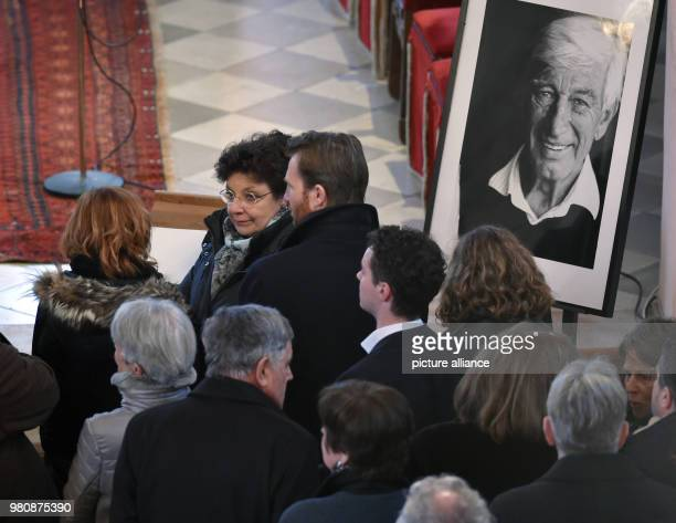 The 'Bergdoktor' actors Monika Baumgartner and Heiko Ruprecht attend the memorial service for actor Rauch The actor died of heart failure on 11 March...