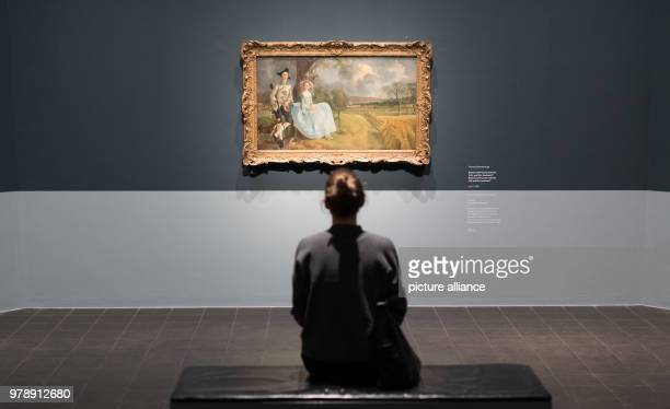 A woman looks at the work 'Mr und Mrs Andrews' by Thomas Gainsborough at the exhibition 'Thomas Gainsborough the modern landscape' in the art gallery...