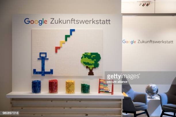 An image made of lego bricks can be seen at a press conference for Google's headquarters in Hamburg Teachers and pupils professionals and founders...