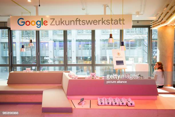Google virtual reality glasses lying on a table before a press conference for the Google future workshop Hamburg Teachers and pupils professionals...