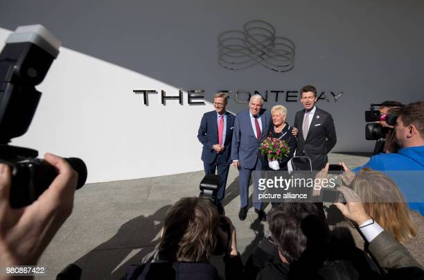 March 2018, Germany, Hamburg: Logistics billionaire and Hamburger SV investor Klaus Michael Kuehne, his wife Christine, President of the...