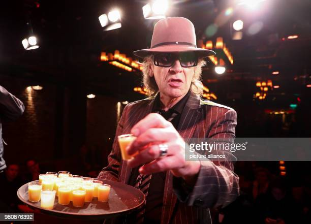 Rockstar Udo Lindenberg serves advocaat during the opening of the 'Panik City The UdoLindenbergExperience' The musician opened an adventure world...
