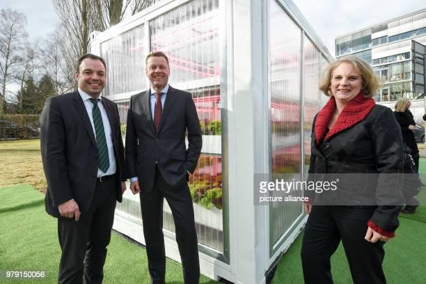 Kassel's mayor Christina Geselle of the Social Democratic Party Burkhard Lohr CEO of the Kassel fertilizer and salt producer KS AG and Alexa...