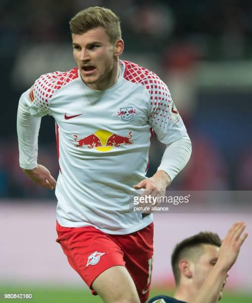March 2018, Germany, Leipzig: Soccer, Bundesliga, 1. RBLeipzig vs Bayern Munich at the Red Bull Arena. Leipzig's Timo Werner celebrating his goal...