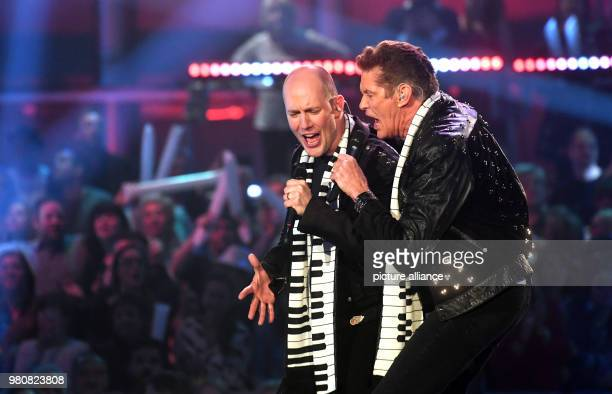 Singers David Hasselhoff and Oli P performing at the Saturday night show 'Heimlich Die grosse SchlagerUeberraschung' at the Bavaria Filmstudios Photo...