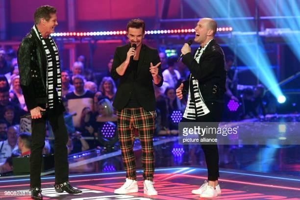 Singers David Hasselhoff Florian Silbereisen and Oli P on stage at the Saturday night show 'Heimlich Die grosse SchlagerUeberraschung' at the Bavaria...