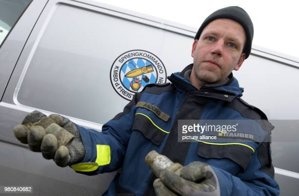 Blaster Martin Radons holding the detonator of a 500 kilo aircraft bomb from the Second World War Due to the deactivation of the bomb 12 000 people...